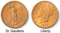 Gold Coins Double Eagle St. Gaudens & Liberty